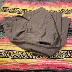 Brown pinstripe trousers